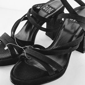 Nine West Black Velvet Platform Sandals